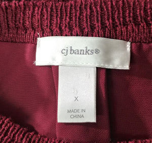 C. J. Banks Women Sweater, Size X, burgundy, red, cotton blend, polyester