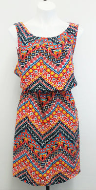 New Look Women Dress, Size 2x, blue, orange, red, polyester