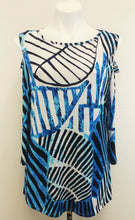 Load image into Gallery viewer, New Venini Women Shirt, Size Large, blue, white, polyester, spandex