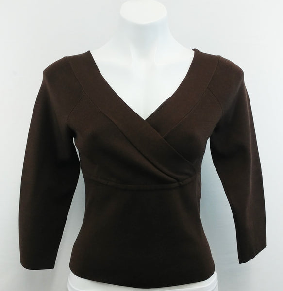 U-Knit Petite Women Shirt, Size Petite Medium, brown, silk, rayon, spandex