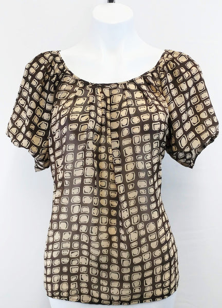 New York and Company Women Shirt, Size Small, brown, polyester