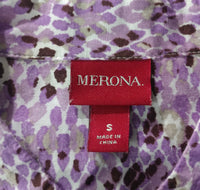 Merona Women Shirt, Size Small, purple, white, cotton, rayon