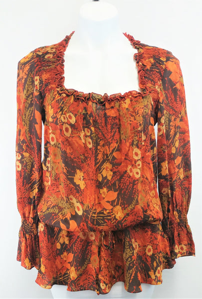 Joesphine Chaus Women Shirt, Size 6, brown floral print, 100% silk