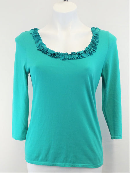 Talbots Petite Women Shirt, Size Small, green, pima cotton