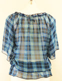 Simply Irresistible Women Shirt, Size Medium, blue plaid, polyester