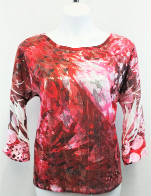 Style and Co. Women Shirt, Size Small, red, pink sequins, polyester