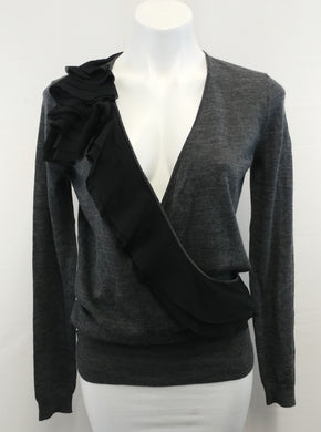 Ann Taylor Loft Women Sweater, Size Small, gray, black, wool, polyester