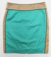 Alex Marie Women Skirt, Size 10, blue, brown, cotton, spandex
