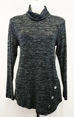 New Erin London Women Shirt, Size Small, gray, black, rayon, polyester