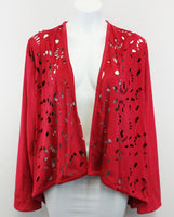 New Erin London Women Cardigan, Size Large, red, polyester, spandex