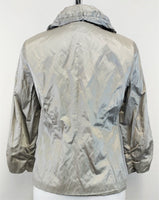 Chico's Women Jacket, Size 0, metallic silver, green, cotton, polyester