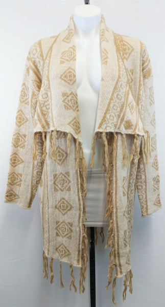 Double Zero Women Cardigan, Size Large, brown, cream, acrylic