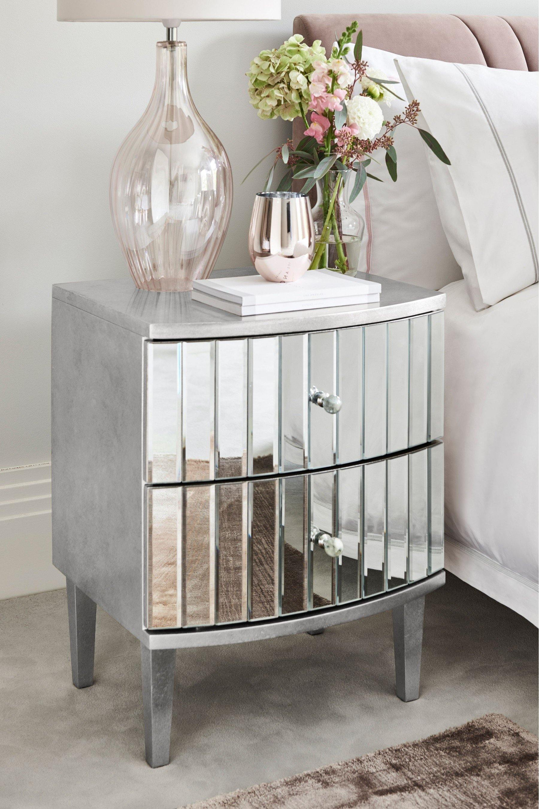 Ava Mirrored 2 Drawer Bedside Cabinet Table Casa Maria Designs