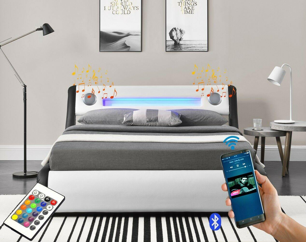 Bentley Ottoman Amp Bluetooth Speakers Led Bed Silver