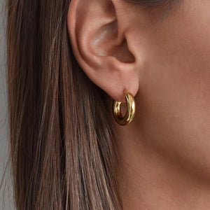 Hollow Hoop Earrings 18K Gold Plated