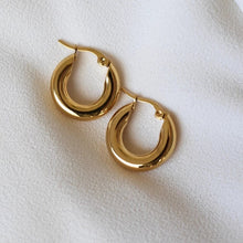 Load image into Gallery viewer, Hollow Hoop Earrings 18K Gold Plated