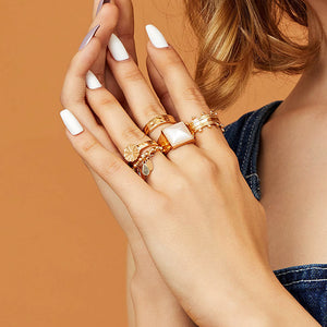 5 Pieces Geometric Rings