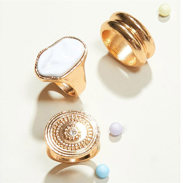 3 Pieces Geometric Rings