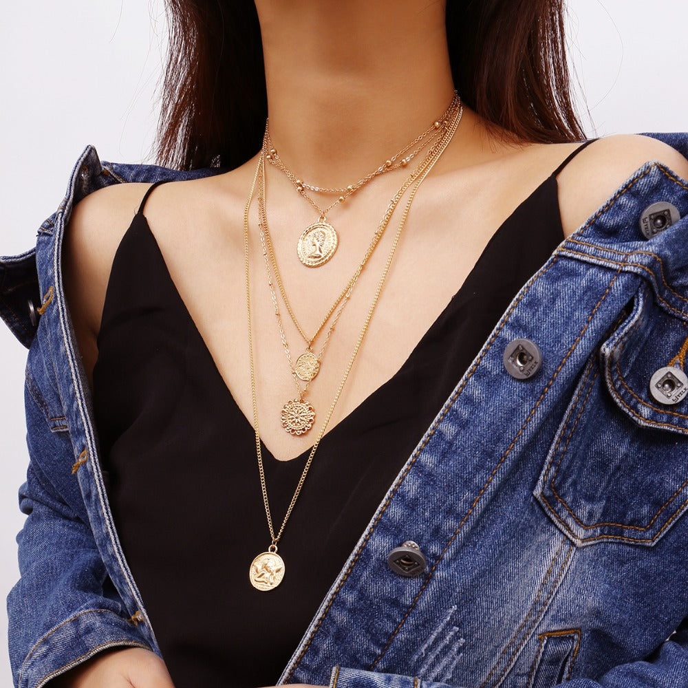 4 Pack Pendant Coin Necklaces