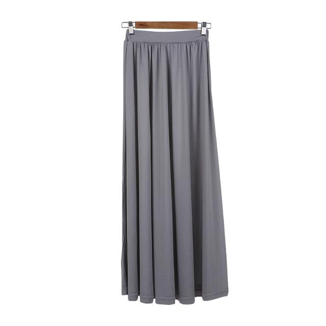 cd3d75e28a ... Load image into Gallery viewer, Vintage gray long skirt Summer Beach  Elastic high waist Pleated ...