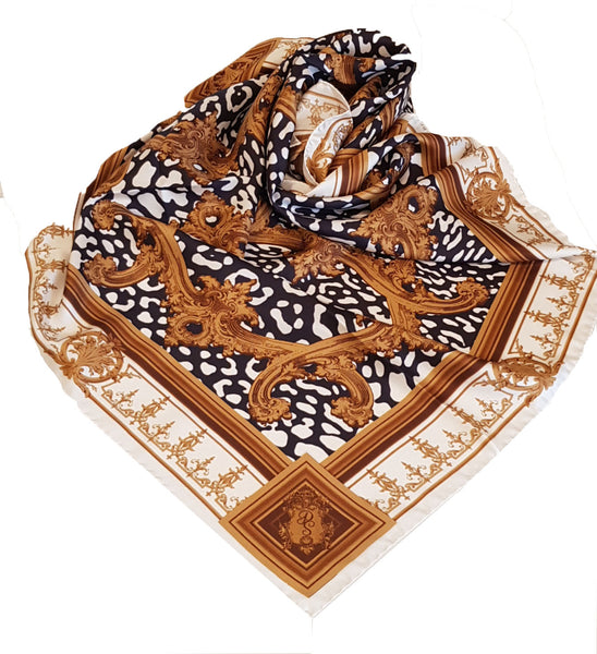 Leopards in the Jungle Scarf  Black and White