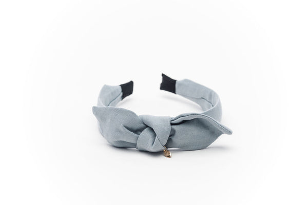 Linen Knot Headband Duck egg Blue
