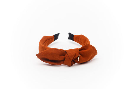 Rust high padded velvet headband