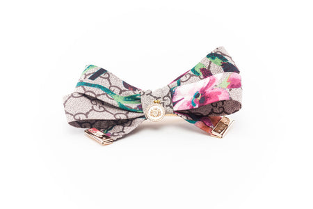 Silk Eliza Bow Black And White Parrot
