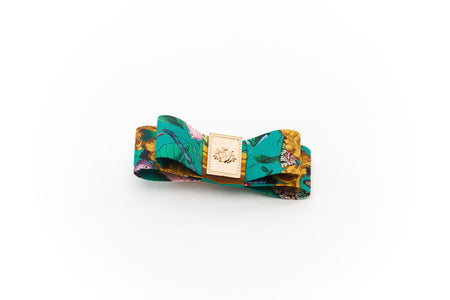 Silk Eliza Bow Animal Print gold