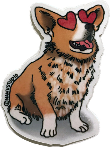 Corgi Heart Eyes Sticker