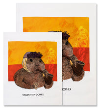 Load image into Gallery viewer, This image shows the two different sizes available for the Vincent van Gopher print - 8x10in and 11x14in. The Vincent van Gopher fine art print depicts Vincent van Gogh as a gopher. The gopher is facing the right, wearing a grey blue winter hat, and has a bandaged ear. He is holding a wooden smoking pipe in his left paw with hints of smoke coming up and holding a human ear in his right paw, a nod to van Gogh cutting off his ear. The background has two horizontal blocks of swirly colors, yellow on top of red