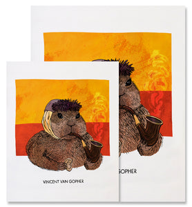 This image shows the two different sizes available for the Vincent van Gopher print - 8x10in and 11x14in. The Vincent van Gopher fine art print depicts Vincent van Gogh as a gopher. The gopher is facing the right, wearing a grey blue winter hat, and has a bandaged ear. He is holding a wooden smoking pipe in his left paw with hints of smoke coming up and holding a human ear in his right paw, a nod to van Gogh cutting off his ear. The background has two horizontal blocks of swirly colors, yellow on top of red
