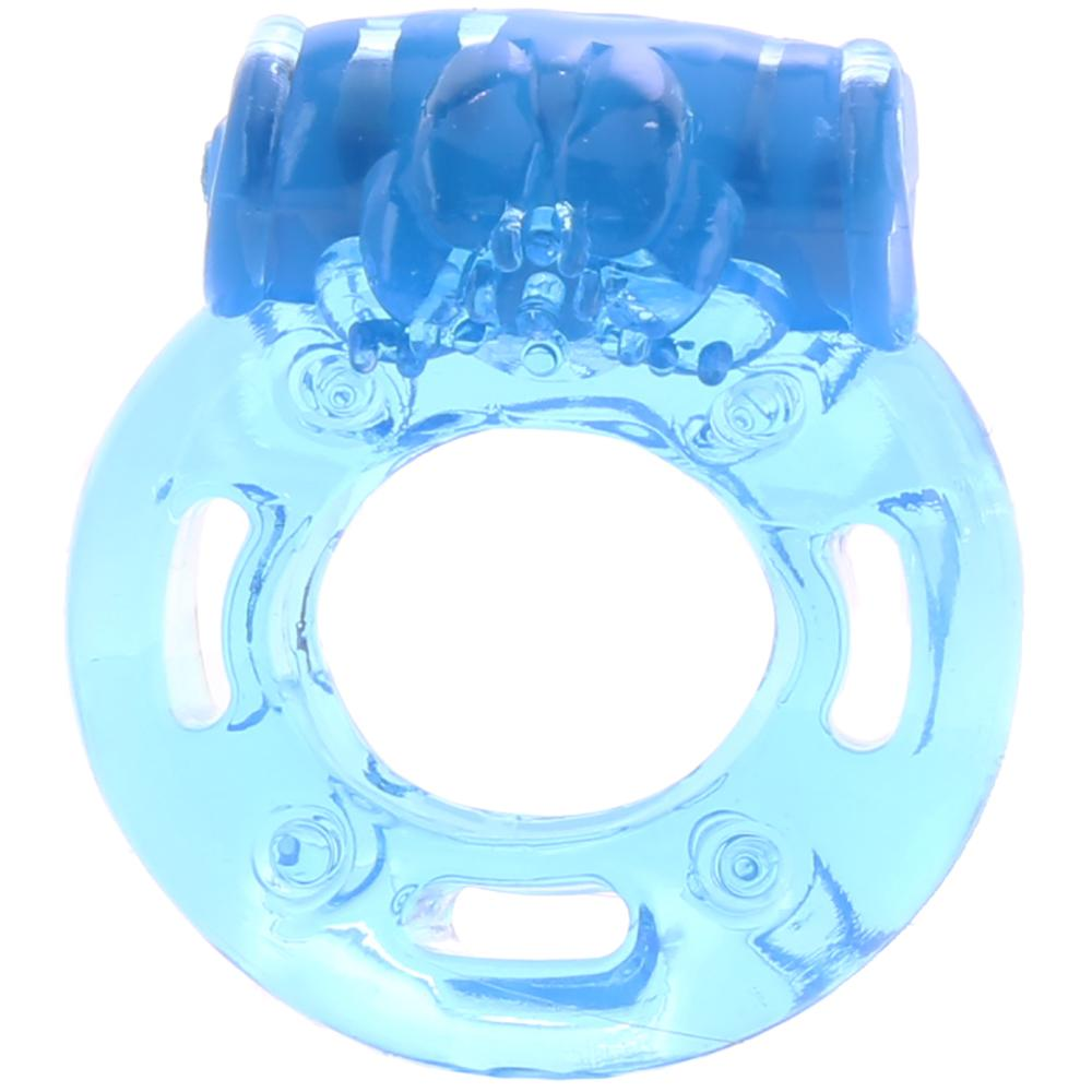 Vibrating Clitoral Pleasure Cock Ring in Blue