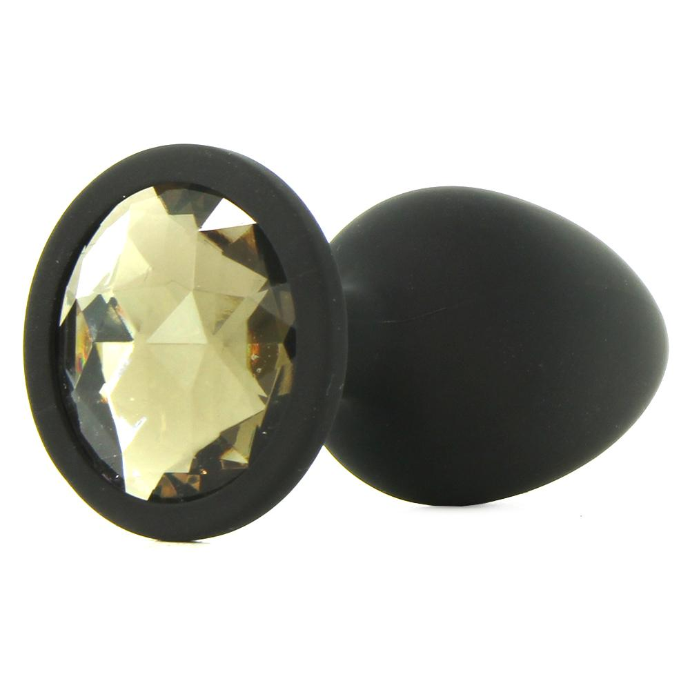 Booty Bling Small Jeweled Silicone Plug in Black/Crystal