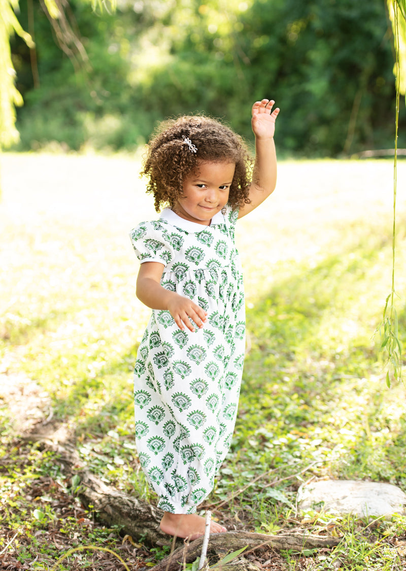 India Amory x Smockingbird Romper - Emerald Green