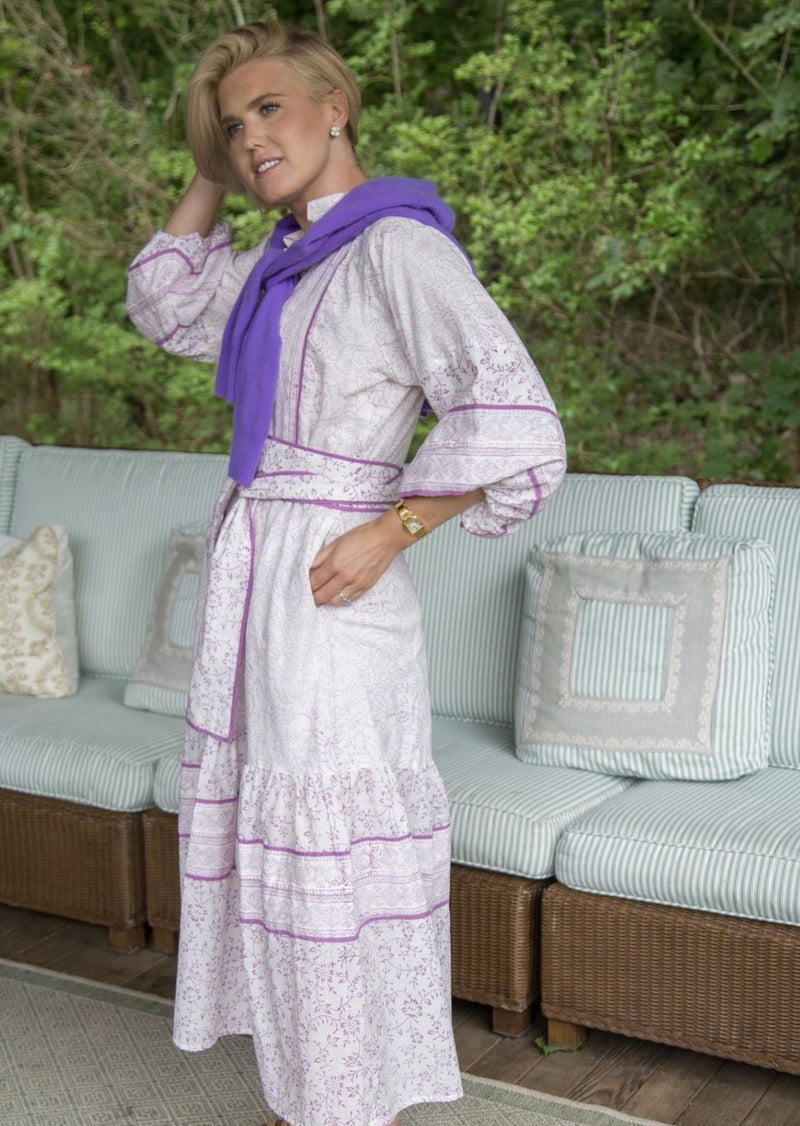India Amory x Sue Sartor Flounce Dress Lilac