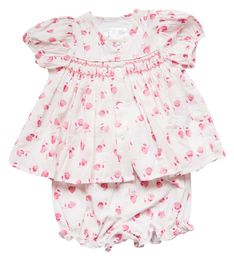 India Amory x Smockingbird Bloomer Set - Hibiscus Pink