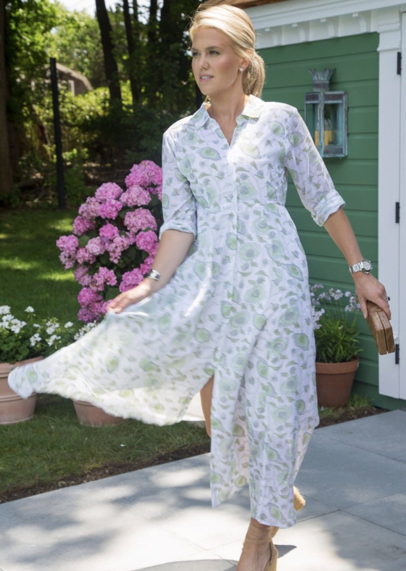 The India Amory Shirt Dress - Celadon Buttercup