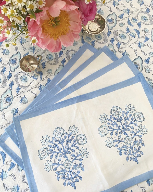 Cerulean Poppy Placemats - Set of 4 with Dinner Napkins