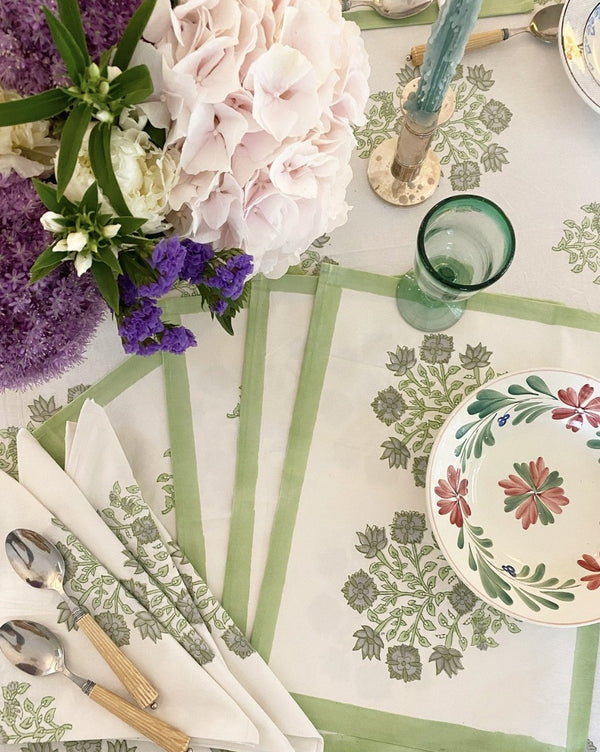 Celadon Poppy Placemats - Set of 4 with Dinner Napkins