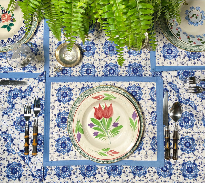 China Blue Placemats - Set of 4 With Dinner Napkins