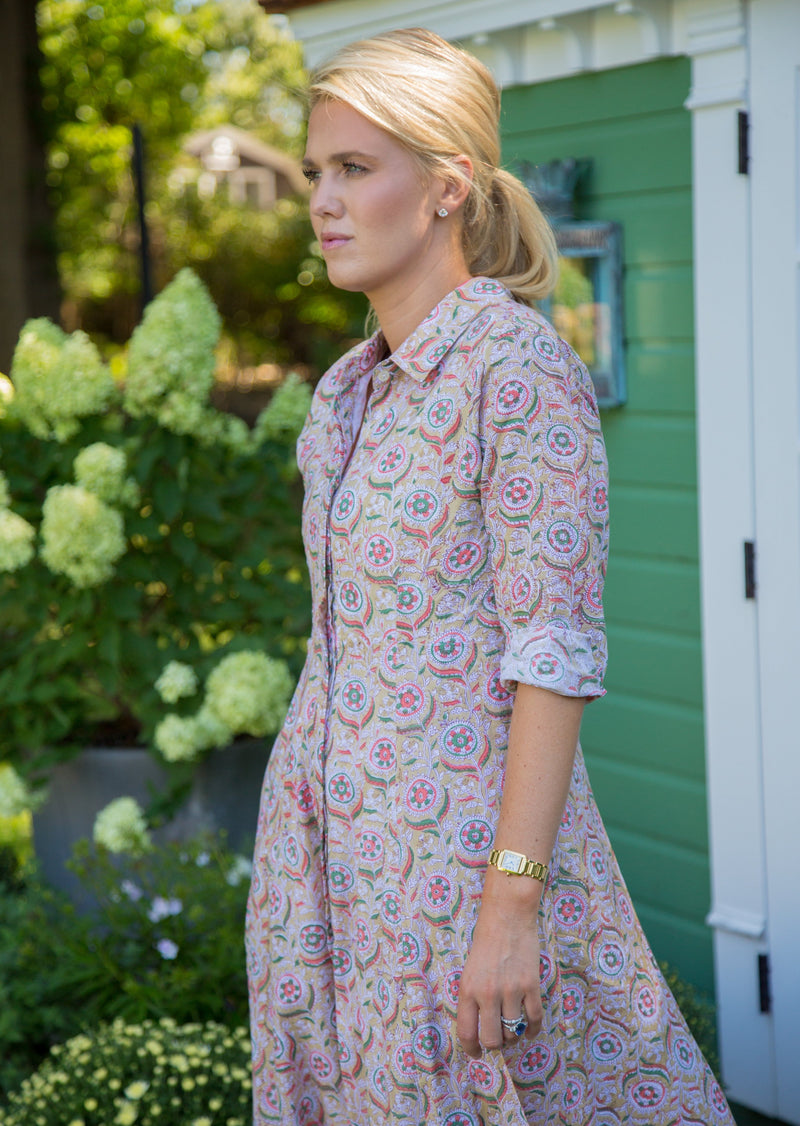 The India Amory Shirt Dress - Turkish Delight