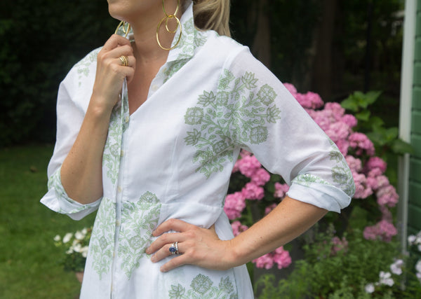 The India Amory Shirt Dress - Celadon Poppy