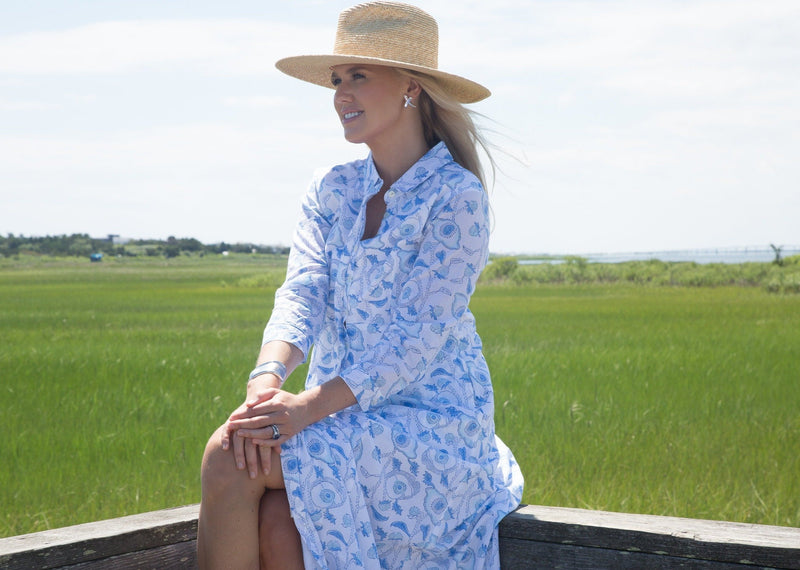 The India Amory Shirt Dress - Lapis Buttercup
