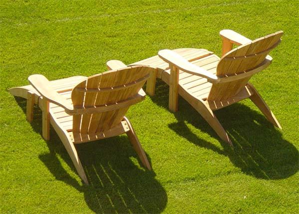 Teak Adirondack Chair With Ottoman - Toms Outdoor Furniture