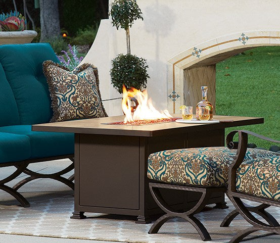 "Santorini Fire Pit 30x50"" Rectangle Chat Height - Toms Outdoor Furniture"