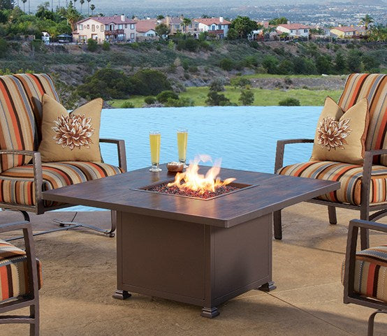 "Santorini Fire Pit 42"" Square Chat Height - Toms Outdoor Furniture"