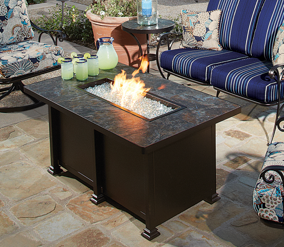 "Santorini Fire Pit 36x58"" Rectangle Chat Height - Toms Outdoor Furniture"