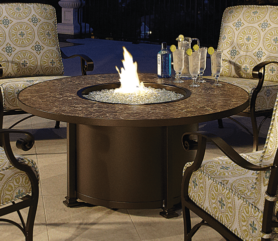 "Santorini Fire Pit 54"" Round Dining Height - Toms Outdoor Furniture"