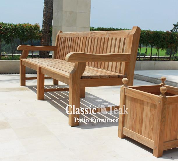Commercial Teak Bench 8F - Toms Outdoor Furniture
